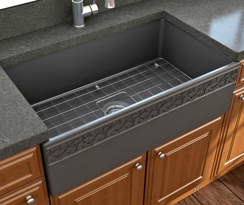 "Bocchi Vigneto 33"" Dark Gray Fireclay Single Bowl Farmhouse Sink w/ Grid - Annie & Oak"