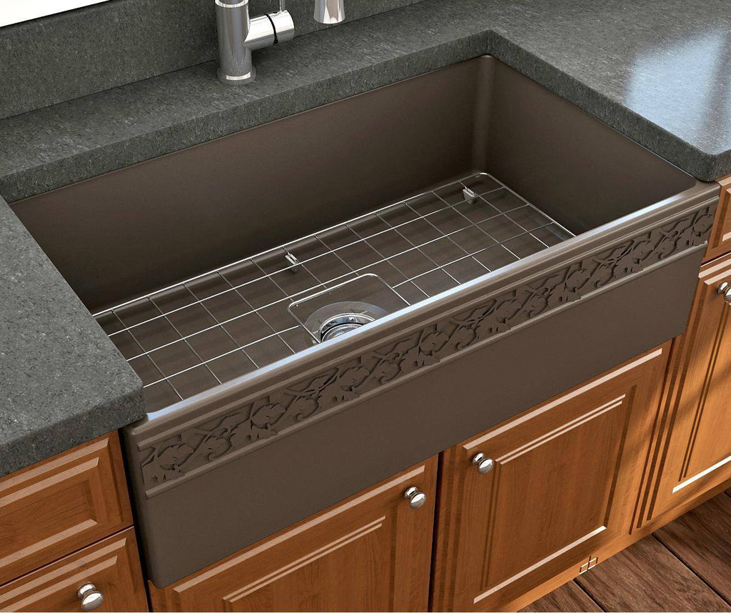 "Bocchi Vigneto 33"" Brown Fireclay Single Bowl Farmhouse Sink w/ Grid - Annie & Oak"