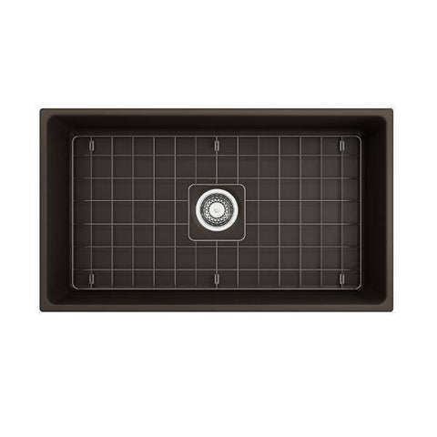 "Image of Bocchi Vigneto 33"" Brown Fireclay Single Bowl Farmhouse Sink w/ Grid - Annie & Oak"