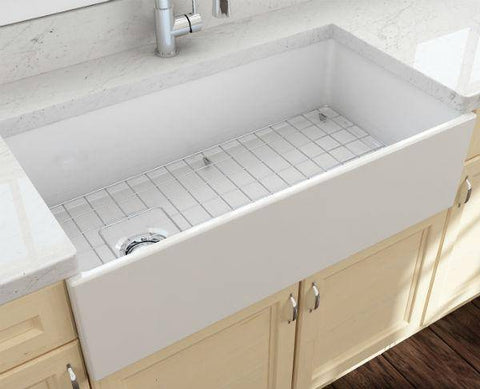 Image of Bocchi Contempo 36 White Fireclay Farmhouse Sink Single Bowl With Free Grid-Annie & Oak