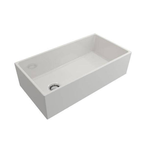 Image of Bocchi Contempo 36 White Fireclay Farmhouse Sink Single Bowl With Free Grid - Annie & Oak