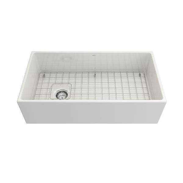 Bocchi Contempo 36 White Fireclay Farmhouse Sink Single Bowl With Free Grid - Annie & Oak