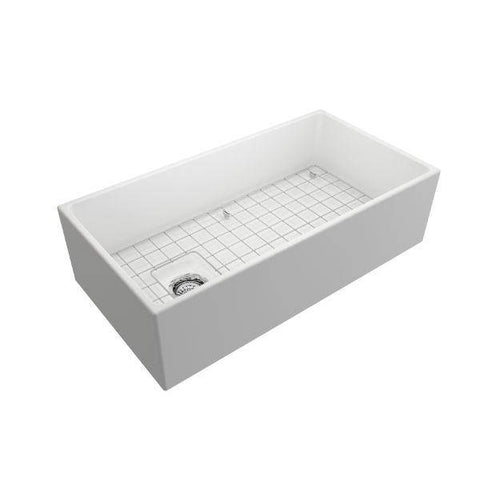 Bocchi Contempo 36 Matte White Fireclay Farmhouse Sink Single Bowl With Free Grid - Annie & Oak