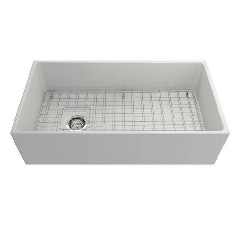 Bocchi Contempo 36 Matte White Fireclay Farmhouse Sink Single Bowl With Free Grid-Annie & Oak