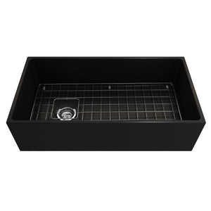 Bocchi Contempo 36 Matte Black Fireclay Farmhouse Sink Single Bowl With Free Grid-Annie & Oak