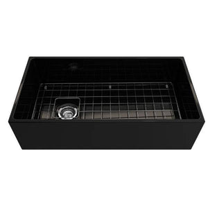 Bocchi Contempo 36 Black Fireclay Farmhouse Sink Single Bowl With Free Grid-Annie & Oak