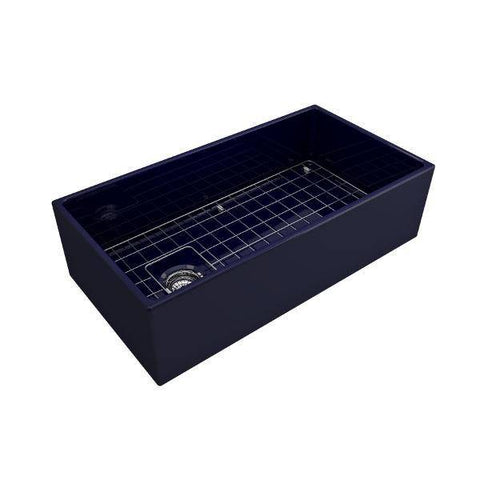 Bocchi Contempo 36 Blue Fireclay Farmhouse Sink Single Bowl With Free Grid - Annie & Oak
