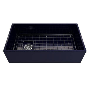 Bocchi Contempo 36 Blue Fireclay Farmhouse Sink Single Bowl With Free Grid-Annie & Oak