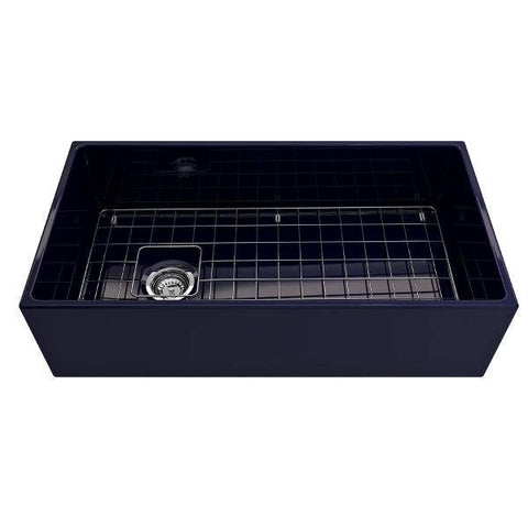 Image of Bocchi Contempo 36 Blue Fireclay Farmhouse Sink Single Bowl With Free Grid-Annie & Oak