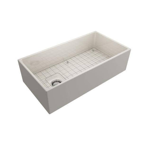 Image of Bocchi Contempo 36 Biscuit Fireclay Farmhouse Sink Single Bowl With Free Grid - Annie & Oak
