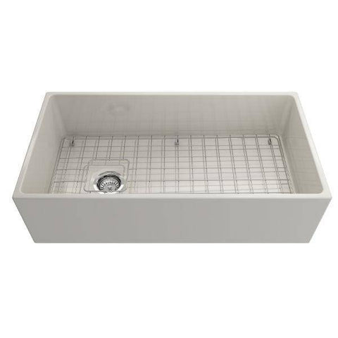 Bocchi Contempo 36 Biscuit Fireclay Farmhouse Sink Single Bowl With Free Grid-Annie & Oak