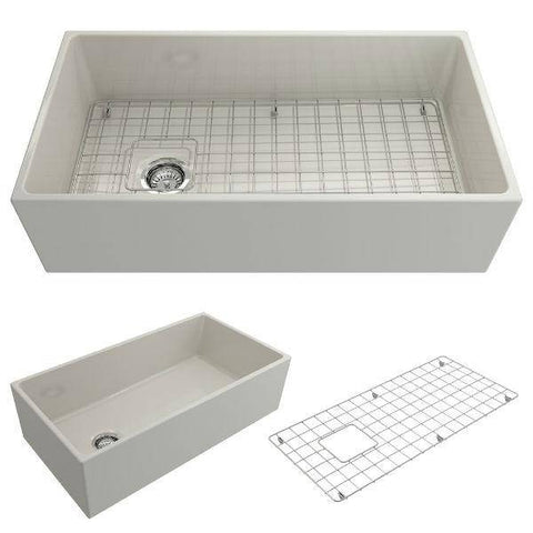 Bocchi Contempo 36 Biscuit Fireclay Farmhouse Sink Single Bowl With Free Grid - Annie & Oak