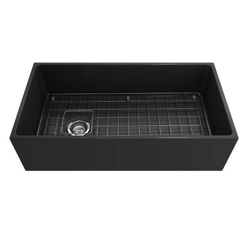 Image of Bocchi Contempo 36 Dark Gray Fireclay Farmhouse Sink Single Bowl With Free Grid-Annie & Oak