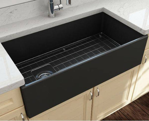 Bocchi Contempo 36 Dark Gray Fireclay Farmhouse Sink Single Bowl With Free Grid - Annie & Oak