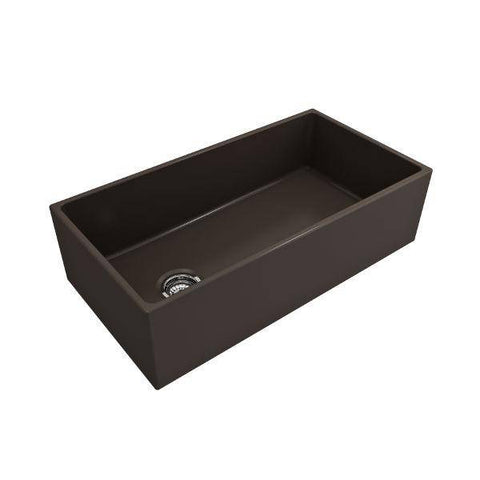 Image of Bocchi Contempo 36 Brown Fireclay Farmhouse Sink Single Bowl With Free Grid - Annie & Oak