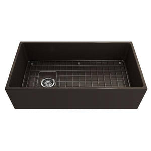 Bocchi Contempo 36 Brown Fireclay Farmhouse Sink Single Bowl With Free Grid - Annie & Oak