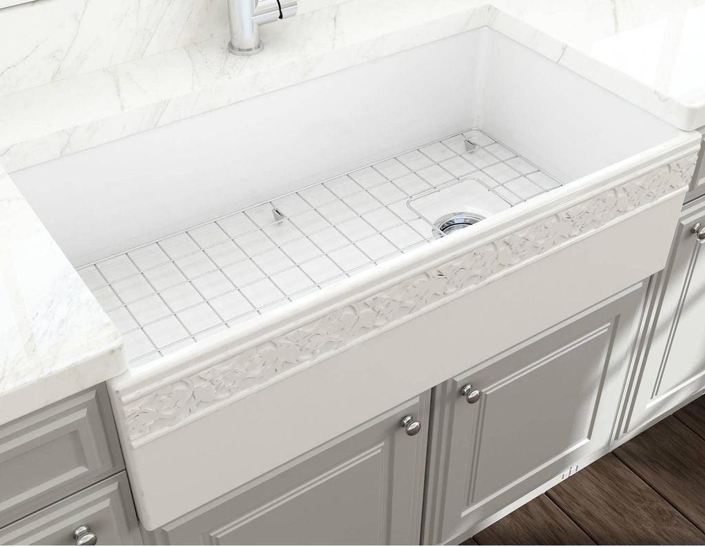 "Bocchi Vigneto 36"" White Fireclay Single Bowl Farmhouse Sink w/ Grid - Annie & Oak"