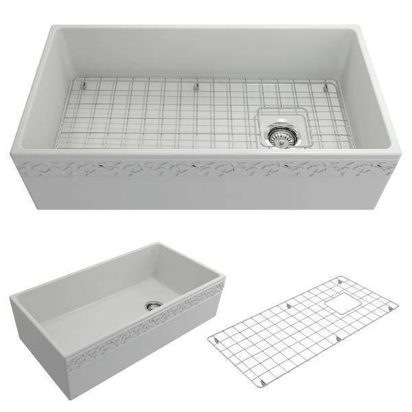 "Bocchi 36"" Fireclay Farmhouse Sink Single Bowl Vigneto w/ Grid-Annie & Oak"