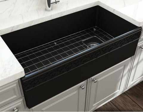 "Bocchi Black 36"" Fireclay Farmhouse Sink Single Bowl Vigneto w/ Grid-Annie & Oak"