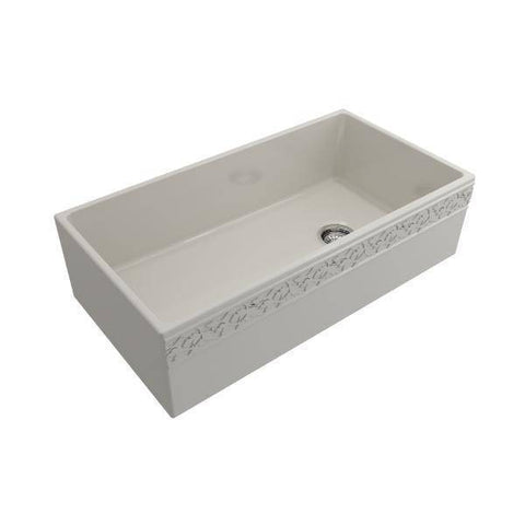 "Image of Bocchi Vigneto 36"" Biscuit Fireclay Single Bowl Farmhouse Sink w/ Grid - Annie & Oak"