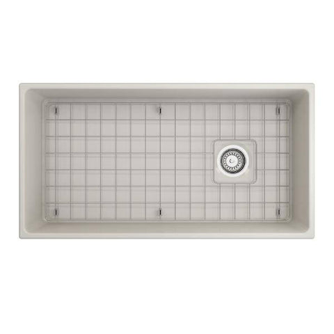 "Image of Bocchi 36"" Fireclay Farmhouse Sink Single Bowl Vigneto w/ Grid-Annie & Oak"