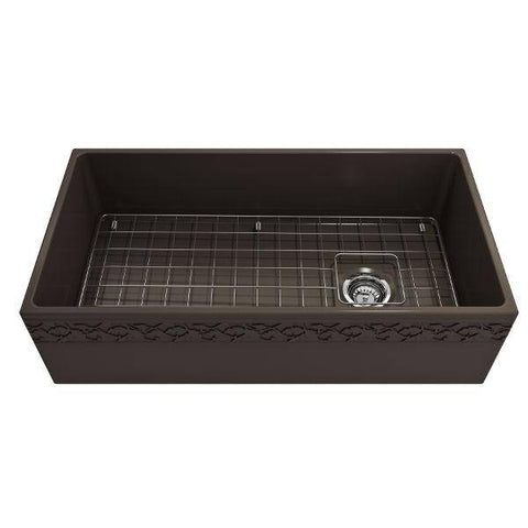 "Bocchi Vigneto 36"" Brown Fireclay Single Bowl Farmhouse Sink w/ Grid-Annie & Oak"