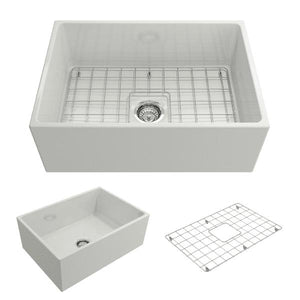 Bocchi Contempo 27 White Fireclay Single Bowl Farmhouse Sink w/ Grid