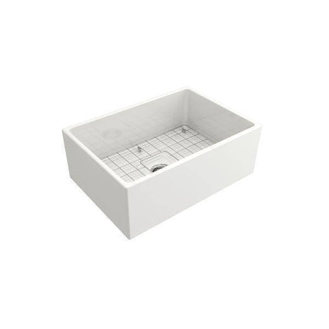Bocchi Contempo 27 White Fireclay Single Bowl Farmhouse Sink w/ Grid - Annie & Oak