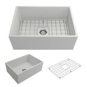Bocchi Contempo 27 Matte White Fireclay Single Bowl Farmhouse Sink w/ Grid