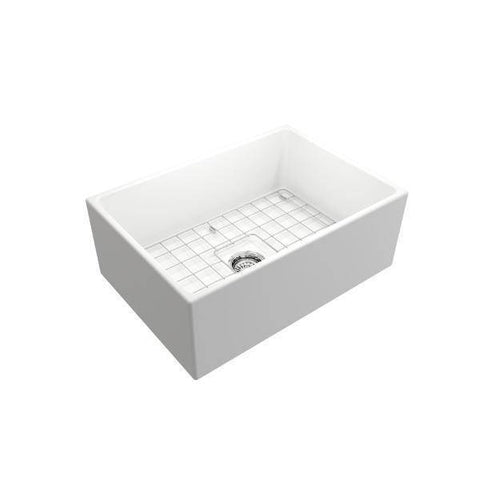 Bocchi Contempo 27 Matte White Fireclay Single Bowl Farmhouse Sink w/ Grid - Annie & Oak