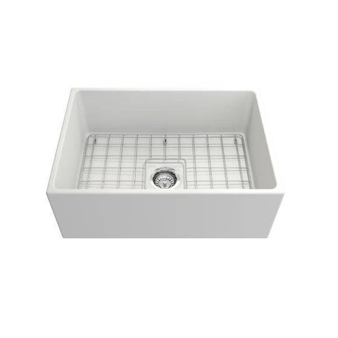 Image of Bocchi Contempo 27 Matte White Fireclay Single Bowl Farmhouse Sink w/ Grid-Annie & Oak