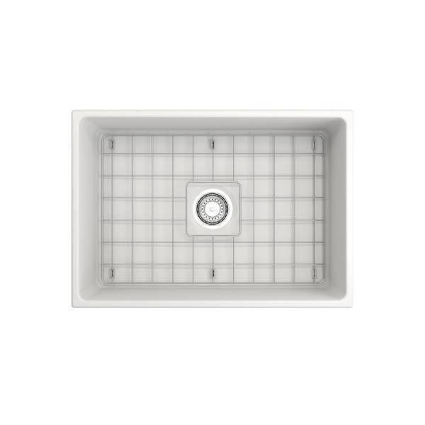 Bocchi Contempo 27 Matte White Fireclay Single Bowl Farmhouse Sink w/ Grid-Annie & Oak