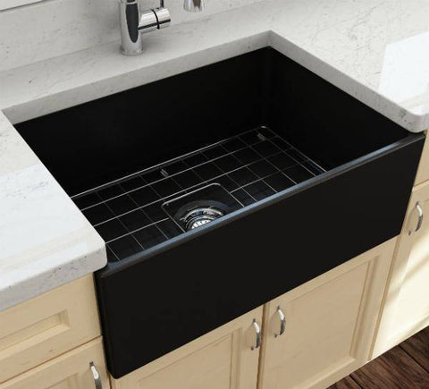 Image of Bocchi Contempo 27 Matte Black Fireclay Single Bowl Farmhouse Sink w/ Grid-Annie & Oak