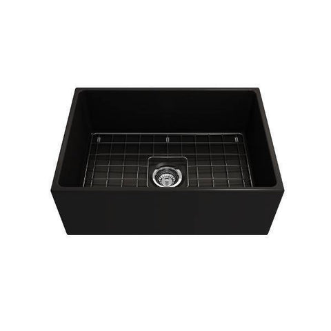 Bocchi Contempo 27 Matte Black Fireclay Single Bowl Farmhouse Sink w/ Grid-Annie & Oak