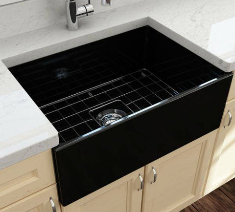 Image of Bocchi Contempo 27 Black Fireclay Single Bowl Farmhouse Sink w/ Grid - Annie & Oak