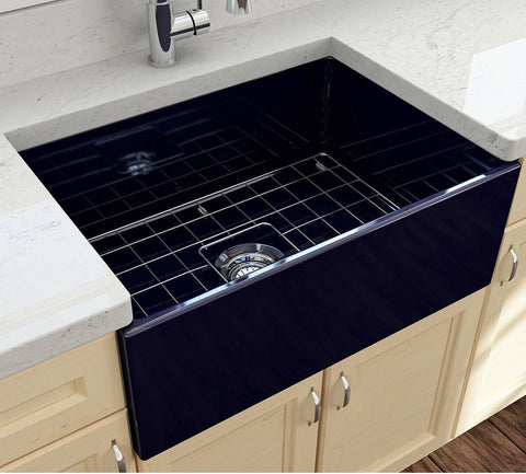 Image of Bocchi Contempo 27 Blue Fireclay Single Bowl Farmhouse Sink w/ Grid - Annie & Oak