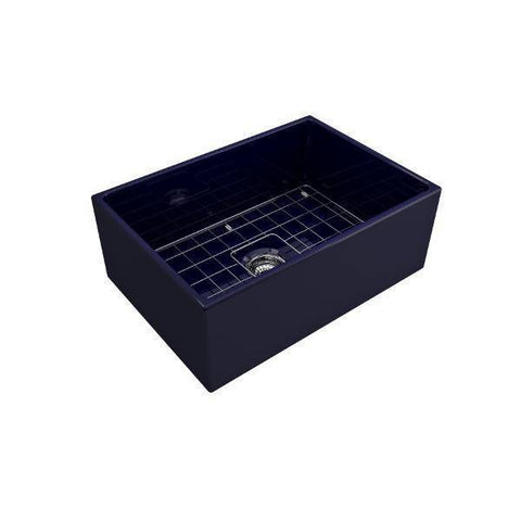 Bocchi Contempo 27 Blue Fireclay Single Bowl Farmhouse Sink w/ Grid-Annie & Oak