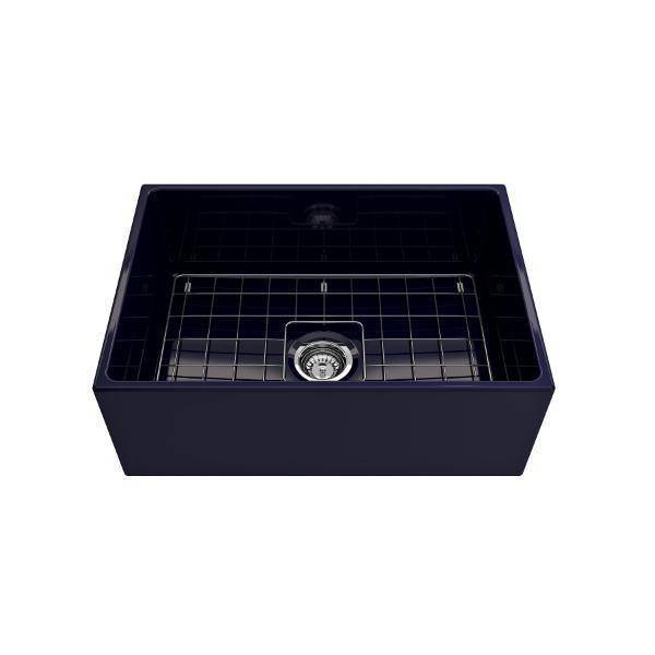 Bocchi Contempo 27 Blue Fireclay Single Bowl Farmhouse Sink w/ Grid - Annie & Oak