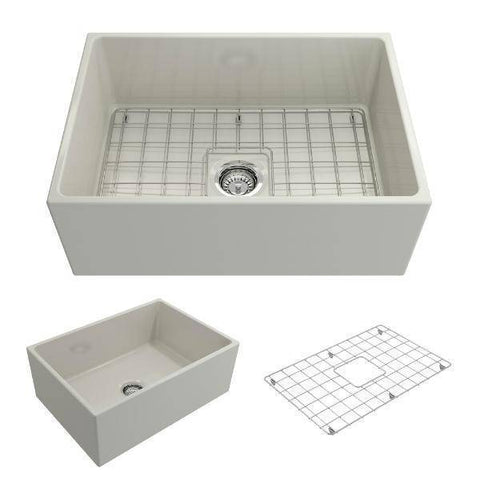 Bocchi Contempo 27 Biscuit Fireclay Single Bowl Farmhouse Sink w/ Grid-Annie & Oak