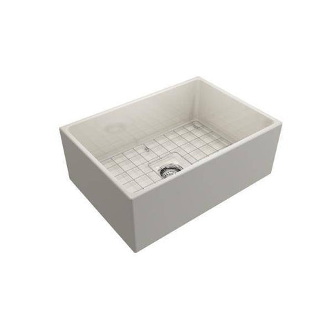 Bocchi Contempo 27 White Fireclay Single Bowl Farmhouse Sink w/ Grid-Annie & Oak