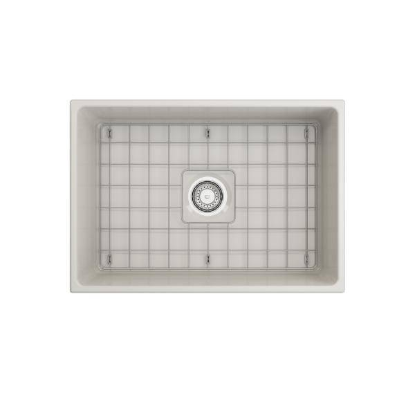 Bocchi Contempo 27 Biscuit Fireclay Single Bowl Farmhouse Sink w/ Grid - Annie & Oak