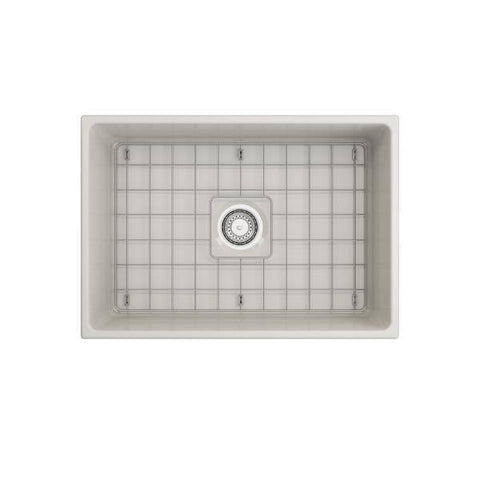 Image of Bocchi Contempo 27 White Fireclay Single Bowl Farmhouse Sink w/ Grid - Annie & Oak