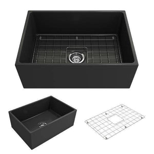 Bocchi Contempo 27 Matte Dark Gray Fireclay Single Bowl Farmhouse Sink w/ Grid