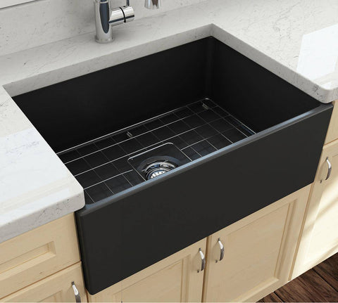 Bocchi Contempo 27 Matte Dark Gray Fireclay Single Bowl Farmhouse Sink w/ Grid-Annie & Oak