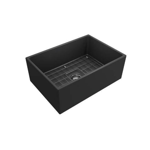 Image of Bocchi Contempo 27 Matte Dark Gray Fireclay Single Bowl Farmhouse Sink w/ Grid - Annie & Oak
