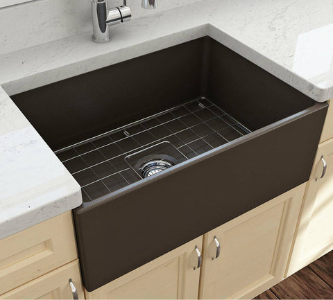 Bocchi Contempo 27 Matte Brown Fireclay Single Bowl Farmhouse Sink w/ Grid-Annie & Oak