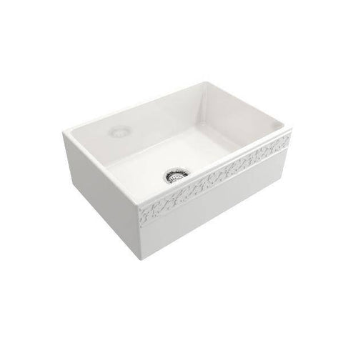 "Bocchi Vigneto 27"" White Fireclay Single Bowl Farmhouse Sink w/ Grid - Annie & Oak"