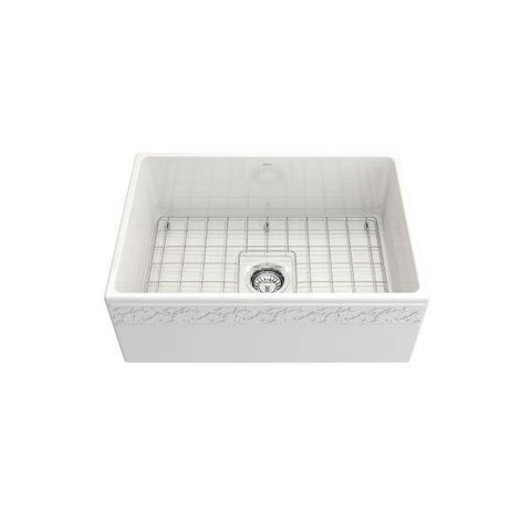 "Bocchi Vigneto 27"" White Fireclay Single Bowl Farmhouse Sink w/ Grid-Annie & Oak"