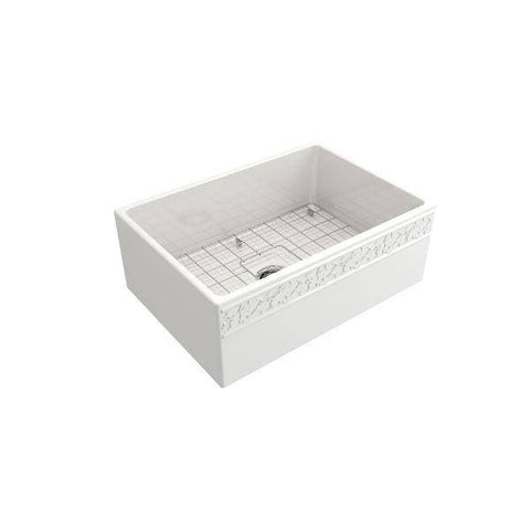 "Image of Bocchi Vigneto 27"" White Fireclay Single Bowl Farmhouse Sink w/ Grid-Annie & Oak"