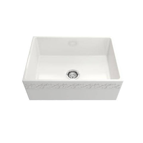 "Image of Bocchi Vigneto 27"" White Fireclay Single Bowl Farmhouse Sink w/ Grid - Annie & Oak"